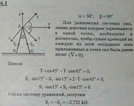 Угловой столб составлен из двух одинаково наклоненных брусьев AB и AC, скрепленных в вершине посредством шарнира. Угол BAC=..., Задача 2813, Теоретическая механика