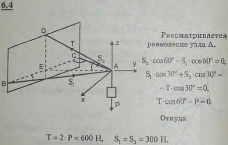 Найти усилия S1 и S2 в стержнях AB и AC и усилие T в тросе AD, если дано, что ∠CBA=∠BCA=60°, ∠EAD=30°...., Задача 2816, Теоретическая механика