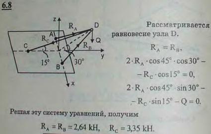 Груз Q веса 1 кН подвешен в точке D, как указано на рисунке. Крепления стержней в точках A, B ..., Задача 2820, Теоретическая механика