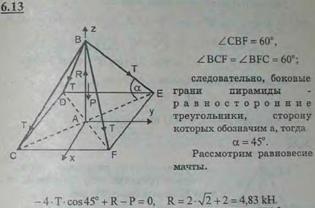 Мачта AB удерживается в вертикальном положении посредством четырех симметрично расположенных оттяжек. Угол между каждыми двумя ..., Задача 2825, Теоретическая механика