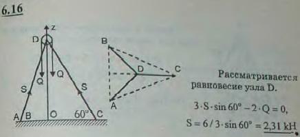 Найти усилия S в ногах AD, BD и CD треноги, образующих углы в 60° с горизонтальной плоскостью, если вес ..., Задача 2828, Теоретическая механика