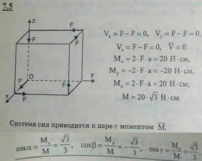 К вершинам куба, ребра которого имеют длину 5 см, приложены, как указано на рисунке, шесть равных по модулю сил,..., Задача 2838, Теоретическая механика