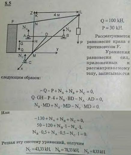 Подъемный кран установлен на трехколесной тележке ABC. Известны размеры крана: AD=DB=1 м, CD=1,5 м, CM=1 м, KL=4 м. Кран уравновешивается..., Задача 2850, Теоретическая механика