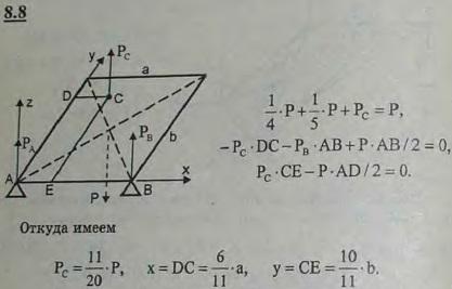 Однородная прямоугольная пластинка ABCD, опираясь на три точечные опоры, две из которых расположены в вершинах прямоугольника A и B,..., Задача 2853, Теоретическая механика