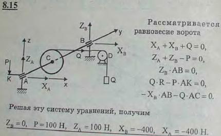 Рабочий удерживает груз Q=800 Н с помощью ворота, схематически изображенного на рисунке; радиус барабана R=5 см; длина рукоятки AK=40 см, AC=CB=50 см...., Задача 2860, Теоретическая механика
