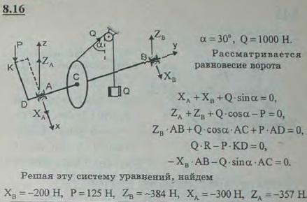 С помощью ворота, схематически изображенного на рисунке, удерживается груз Q=1 кН. Радиус барабана R=5 см. Длина рукоя..., Задача 2861, Теоретическая механика