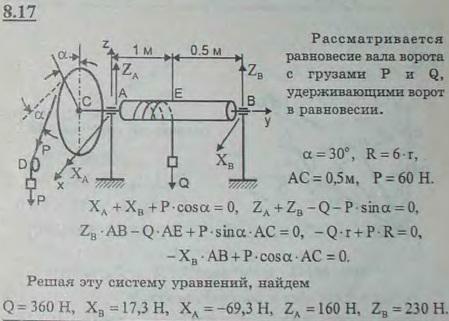 На вал AB ворота намотана веревка, поддерживающая груз Q. Радиус колеса C, насаженного на вал, в шесть раз больше радиуса вала; другие размеры указаны н..., Задача 2862, Теоретическая механика
