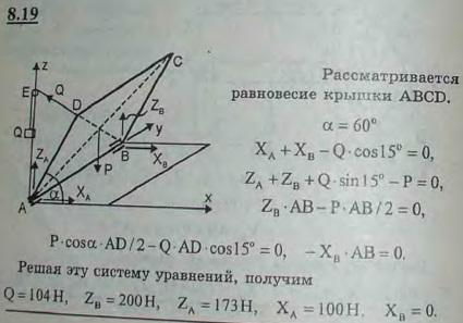 Однородная прямоугольная крышка веса P=400 Н удерживается приоткрытой на 60° над горизонтом противовесом Q. Определить..., Задача 2864, Теоретическая механика