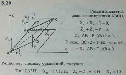 Однородная прямоугольная крышка ABCD ящика может вращаться вокруг горизонтальной оси AB на петлях в точках A и B. Горизонт..., Задача 2865, Теоретическая механика