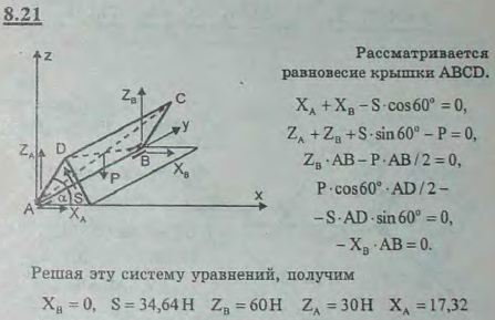 Крышка прямоугольного ящика ABCD подперта с одной стороны палочкой DE. Вес крышки 120 Н; AD=AE; угол DAE=60°. Определить реакции ..., Задача 2866, Теоретическая механика