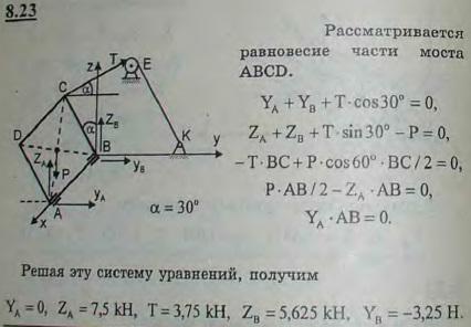 Разводная часть ABCD моста веса 15 кН поднята цепью CE, перекинутой через блок E на лебедку K. Точка E..., Задача 2868, Теоретическая механика