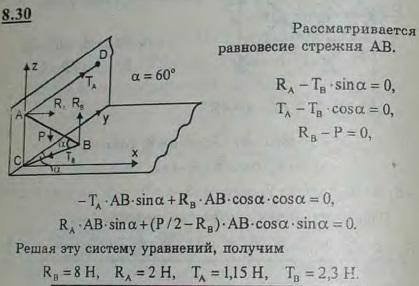 Стержень AB удерживается в наклонном положении двумя горизонтальными веревками AD и BC. При этом в точке A стержень опирается на вертикальную стену, н..., Задача 2875, Теоретическая механика
