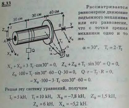 Груз Q равномерно поднимается мотором M посредством бесконечной цепи. Определить реакции опор A и B и натяже..., Задача 2878, Теоретическая механика