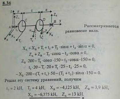 Горизонтальный вал трансмиссии, несущий два шкива C и D ременной передачи, может вращаться в подшипниках A и B. Радиусы шкивов: rC=20 см, rD=25 см; расстояния шкивов от подшипников: a=..., Задача 2881, Теоретическая механика