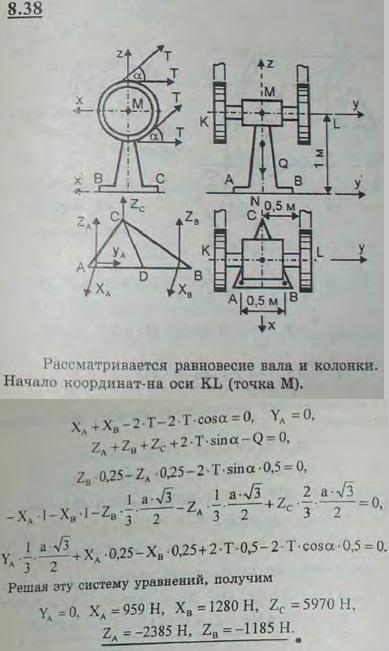 Для передачи вращения с одного вала на другой, ему параллельный, установлены два одинаковых вспомогательных шкива, заклиненных на горизонтальной оси KL. Ось может вращаться в подшипнике M, укрепленном на колонке MN. Треугольное основание этой колонки притянуто к полу двумя болтами A и B и свободно ..., Задача 2883, Теоретическая механика