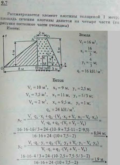 Найти центр тяжести поперечного сечения плотины, показанного на рисунке, принимая, что удельный вес ..., Задача 2895, Теоретическая механика