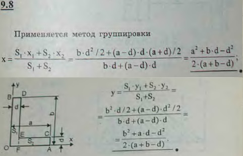 Найти координаты центра тяжести поперечного сечения неравнобокого уголка, полки которог..., Задача 2896, Теоретическая механика