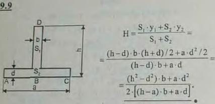Найти расстояние центра тяжести таврового сечения ABCD от стороны его AC, если высота тавра BD=h, ширина полк..., Задача 2897, Теоретическая механика