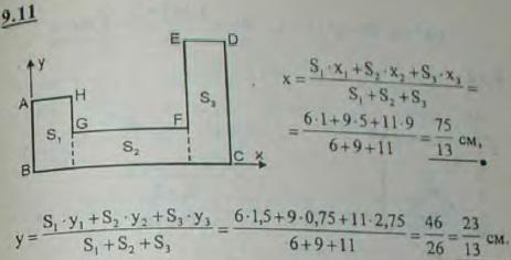Найти координаты центра тяжести однородной пластинки, изображенной на рисунке, зная, что AH=2 см..., Задача 2899, Теоретическая механика