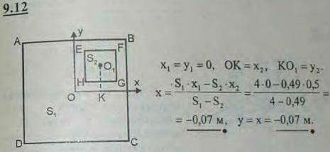 В однородной квадратной доске ABCD со стороной AB=2 м вырезано квадратное отверстие EFGH, стороны которого соответст..., Задача 2900, Теоретическая механика