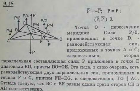 Четыре человека несут однородную треугольную пластину. Двое взялись за две вершины, остальные — за стороны, примыкающие к третьей вершине. ..., Задача 2903, Теоретическая механика