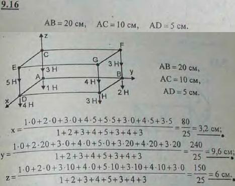 Определить координаты центра тяжести системы грузов, расположенных в вершинах прямоугольного параллелепипеда, ребра которого соответственно р..., Задача 2904, Теоретическая механика
