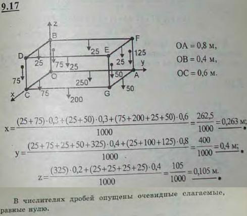Определить координаты центра тяжести контура прямоугольного параллелепипеда, ребра которого суть однородные бруски длиной: OA=0,8 м, OB=0,4 м,..., Задача 2905, Теоретическая механика