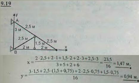 Найти координаты центра тяжести плоской фермы, состоящей из семи стержней, длины которых указаны на ри..., Задача 2907, Теоретическая механика