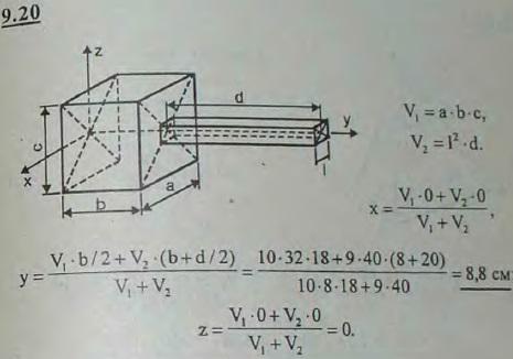 Найти координаты центра тяжести деревянного молотка, состоящего из прямоугольного параллелепипеда и ручки с квадратным..., Задача 2908, Теоретическая механика