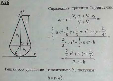Найти предельную высоту h конуса, при которой тело, состоящее из конуса и полушара одинаковой плотности и радиуса r, теряет ус..., Задача 2914, Теоретическая механика