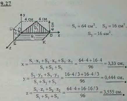 Тонкий однородный лист изогнут в виде двух треугольников и квадрата, как показано на рисунке: равнобедренный..., Задача 2915, Теоретическая механика