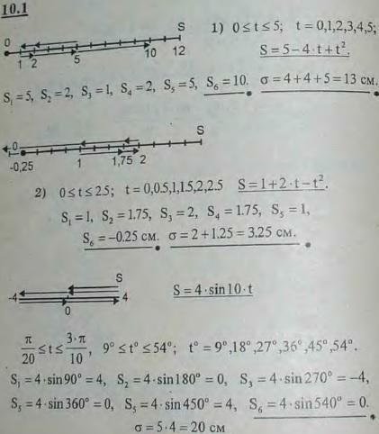 По данному уравнению движения точки на произвольно выбранной траектории построить через равные промежутки времени шесть положений точки, оп..., Задача 2916, Теоретическая механика