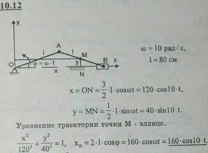 Кривошип OA вращается с постоянной угловой скоростью ω=10 рад/с. Длина OA=AB=80 см. Найти уравнения движения и траекторию средней точки M шатун..., Задача 2927, Теоретическая механика
