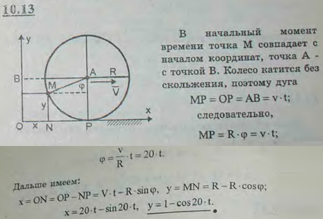 Определить уравнения движения и траекторию точки обода колеса радиуса R=1 м автомобиля, если автомобиль движется по прямолинейному пути с постоян..., Задача 2928, Теоретическая механика