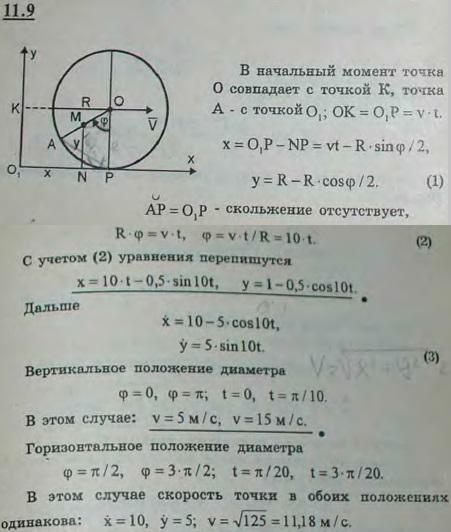 Определить уравнения движения и траекторию точки колеса электровоза радиуса R=1 м, лежащей на расстоянии a=0,5 м от оси, если колесо катится без скольжения по ..., Задача 2947, Теоретическая механика