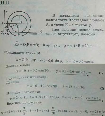 Определить уравнения движения и траекторию точки M колеса вагона радиуса R=0,5 м, отстоящей от оси на расстоянии a=0,6 м и лежащей в начальный момент на 0,1 м..., Задача 2949, Теоретическая механика