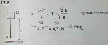 Копровая баба падает с высоты 2,5 м, а для ее поднятия на ту же высоту требуется втрое больше времени, чем на падение. С..., Задача 2960, Теоретическая механика