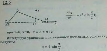 Ползун движется по прямолинейной направляющей с ускорением wx=-π2 sin π/2 t м/с2. Найти уравнение ..., Задача 2961, Теоретическая механика