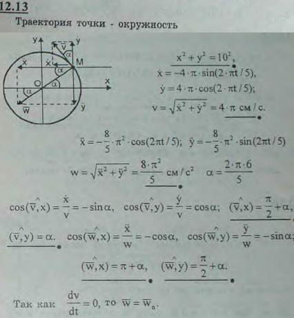 Движение точки задано уравнениями x = 10 cos (2πt/5), y = 10 sin (2πt/5) (x, y — в сантиметрах, t — в сек..., Задача 2968, Теоретическая механика