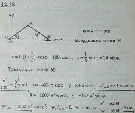 Найти траекторию точки M шатуна кривошипно-ползунного механизма, если r=l=60 см, MB=l/3, φ=4πt (t — в с..., Задача 2973, Теоретическая механика