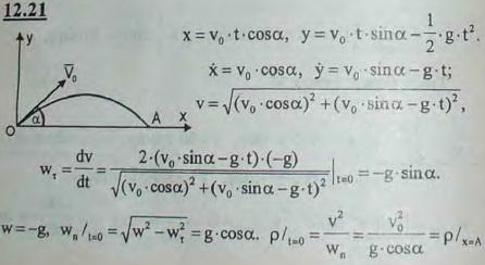 Движение снаряда задано уравнениями x = v0t cos α0, y = v0t sin α0 - gt2/2, где v0 и α0 — постоянные величины. Найти рад..., Задача 2976, Теоретическая механика