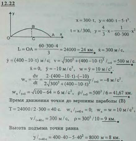 Снаряд движется в вертикальной плоскости согласно уравнениям x=300t, y=400t-5t2 (t — в секундах, x, y — в метрах). Найти: 1) скоро..., Задача 2977, Теоретическая механика