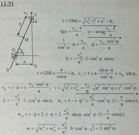 Конец A стержня AB перемещается по прямолинейной направляющей CD с постоянной скоростью vA. Стержень AB все врем..., Задача 2986, Теоретическая механика