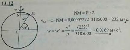 Определить скорость v и ускорение w точки, находящейся на поверхности Земли в Ленинграде, принимая во внимание только вращение Зем..., Задача 3008, Теоретическая механика