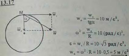 Угол наклона полного ускорения точки обода махового колеса к радиусу равен 60°. Касательное ускорение ее в данный момент wτ=10*..., Задача 3013, Теоретическая механика