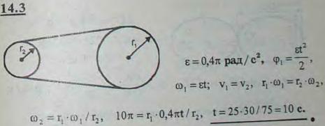 Станок со шкивом A приводится в движение из состояния покоя бесконечным ремнем от шкива B электромотора; радиус..., Задача 3019, Теоретическая механика