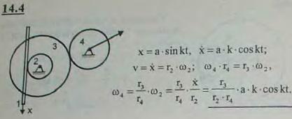 В механизме стрелочного индикатора движение от рейки мерительного штифта 1 передается шестерне 2, на оси котор..., Задача 3020, Теоретическая механика