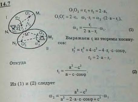 Вывести закон передачи вращения пары эллиптических зубчатых колес с полуосями a и b. Угловая скорость колеса I ω1=const. Расстояние между осям..., Задача 3023, Теоретическая механика