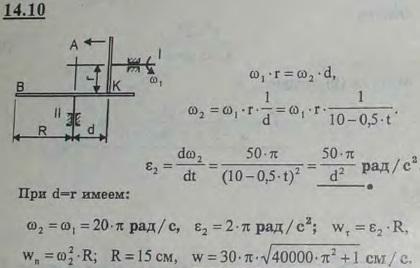 Ведущий вал I фрикционной передачи вращается с угловой скоростью ω=20π рад/с и на ходу передвигается (направление указано стре..., Задача 3026, Теоретическая механика