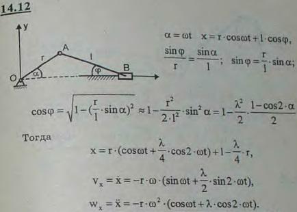 Определить закон движения, скорость и ускорение ползуна B кривошипно-ползунного механизма, если кривошип OA враща..., Задача 3028, Теоретическая механика